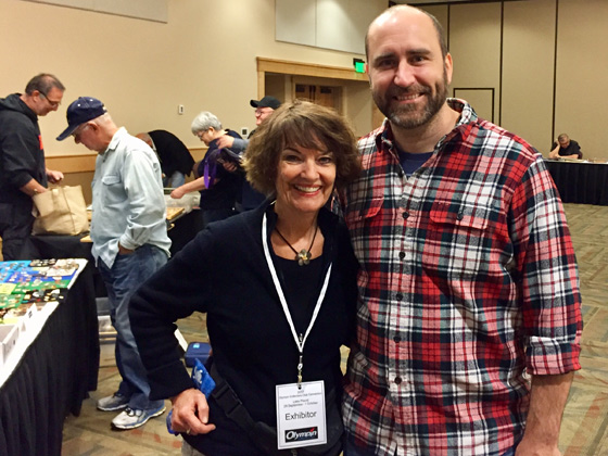 Pam with Olympic luger, Mark Grimmette