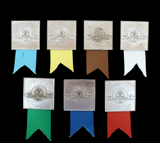 1990 2nd National Olympin Convention, Lake Placid (7 colored ribbons) (100)